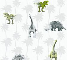 Dinosaur Wallpaper Kids Childrens Bedroom Dinos Grey White Green Paste The Wall
