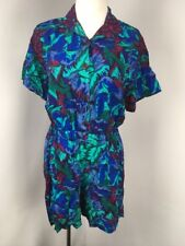 VTG 80s CK SPORT jumpsuit Romper Floral Button Shoulder Pads Shorts Sz S BRIGHT!