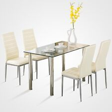 5 Piece Dining Table Set White Glass and 4 Chairs Faux Leather Kitchen  Furniture b3f6fa02f