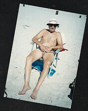 Vintage Photograph Sexy Shirtless Man in Bathing Suit Sitting on Chair At Beach