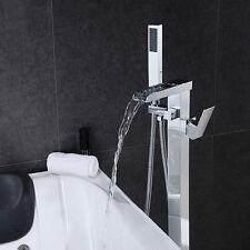 New Waterfall Square Chrome Free Standing Bath Tub Mixer Taps Free Handshower