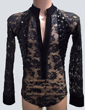 M319 Lsize Ballroom Men Latin Salsa Dance Competition Shirt Black Sleeve