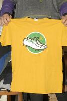 Oakland A's T shirt Yellow shoes logo 00s Large SGA stadium give away