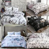 Marble Print Bedding Sets Comforter Duvet Quilt Cover Pilow Case Twin Queen King