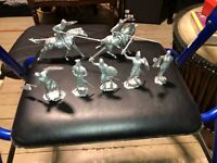 IDEAL Silver Medieval  Knights Figures 60mm EXCELLENT w/ 2 HORSES JOUSTING MARX