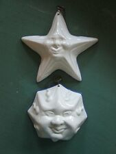Ceramiche ABC Bassano White Ceramic Molds / Masks Sun and Star Faces MINT
