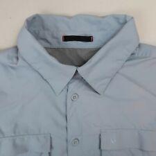 Aigle Actimum Button Up Shirt Mens 2XL Blue Short Sleeve Mesh Lined Chest Pocket
