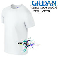 Gildan T-SHIRT White Basic tee 3XL 4XL 5XL Big Men's Heavy 100% Cotton