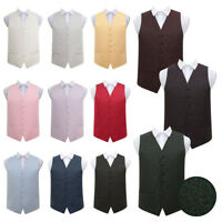 DQT Mens Boys Waistcoat Woven Swirl Patterned Wedding Vest FREE Pocket Square
