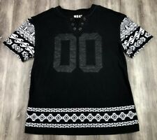 SMOKE RISE Territory Released #00 Faux Leather Tribal Pattern Hip Hop T-Shirt L