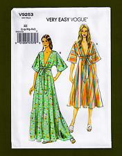 Kimono/Caftan Style Dress Sewing Pattern~Deep V Neck (L, XL, XXL) Vogue 9253