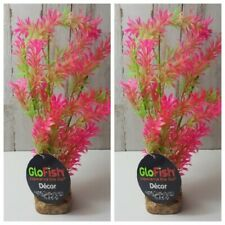 2-Tetra GloFish Plant Large Green/Pink NEW Aquarium Decoration