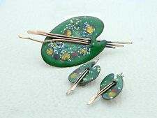 VTG MATISSE RENOIR Signed PALETTE Design Enamel Copper Brooch & Earring Set (B)