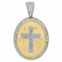 "10K Yellow Gold Diamond Oval Medallion 3D Cross Pendant 1.40"" Mens Charm 0.75 ct"