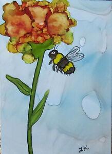 "Art PRINT 5x7"" bumblebee tall dotted flower green by Lynne Kohler"