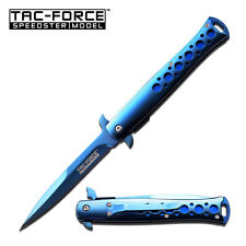 "9"" TAC FORCE BLUE TITANIUM STILETTO SPRING ASSISTED TACTICAL KNIFE-#tf884bl"