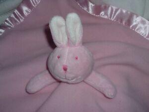 Baby Boom Pink Bunny Rabbit Satin Heart Blanket Lovey Musical PreLoved