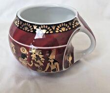 Egyptian Pharaoh Porcelain Mug Collectible King Tut Horus Red Gold Black #4020