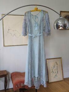 Vintage 1920s Dress Blue Silk Chiffon Lace Dress Flowy Lace Capelet