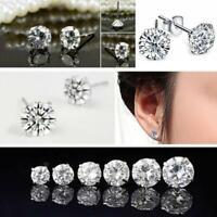 Zirkonia Ohrringe ECHT Silber Ohrstecker Diamant Brillant Cristal V8U8 S7A4