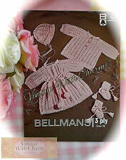 Vintage Crochet Pattern For Baby Girls Coat, Dress, Bonnet & Bootees  ONLY £2.49
