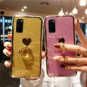 For Samsung Galaxy S20 Plus A71 A50 Note 20 Case Glitter Love heart Ring Cover