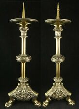 Pr. Antique French Renaissance Revival Solid Brass Picket Candlesticks. 18� tall