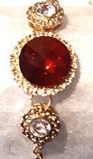 Bracelet pierre rouge et Strass blanc,sur Métal Coul Or  réglable, SansNickel