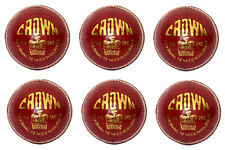 Set of 6 Hard Leather Ball 5.5oz Crown Cricket Ball Mcc Regulation Approved