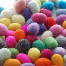 100% Wool Felt Ball Eggs - 60 Count - Hand Felted - Assorted - 25mm x 35mm