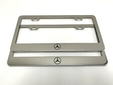 "(2) STAINLESS STEEL CHROME Polished Metal License Plate Frame - MERCEDES ""LOGO"""