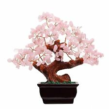 Feng Shui Natural Rose Quartz Crystal Money Tree Bonsai Style Decoration for and