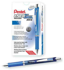 Pentel EnerGel Deluxe RTX Retractable Liquid Gel Pen, Needle Tip 0.7 mm 12 Pack