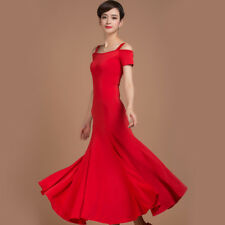 NEW Latin Ballroom Dance Dress Modern Salsa Waltz Standard Long Dress#W004 Red