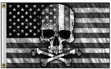 American Flag with Skull & Crossbones 3' x 5' Flag Banner Grommets Halloween