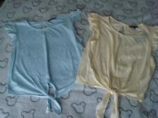 WOMENS NEW LOOK BNWT YELLOW & BLUE RUFFLE SLEEVE TSHIRTS X 2 SIZE 12