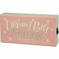 Primitives by Kathy Box Sign Dream Big Little One w/ LED Lighted Stars Pink