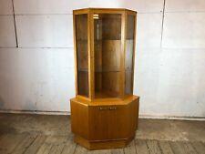 Vintage 1950's Large Teak Wooden Corner Display Cabinet with Glass Shelves
