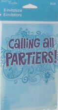 PARTY INVITATION CARDS PARTIERS THEME CARD 8 PAC SET INVITATIONS CMY OTHER ITEMS