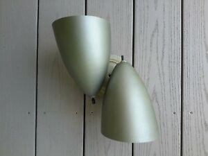 VTG Mid Century Modern Double Cone Atomic WALL SCONCE Light Lamp MCM NICE!