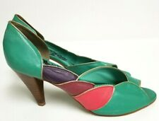 Vtg Heels Pumps Shoes Teal Green Blue Pink Purple Gold Colcci Girls 80s Disco 9