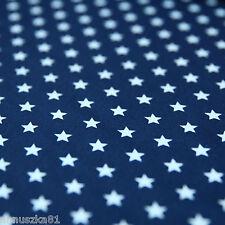 Baumwollstoff Baumwolle Sterne Weiß 8mm Groß auf Marine Stoff mit Sternen