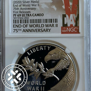 2020 NGC PF69UC END of WORLD WAR II 75th ANNIV SILVER MEDAL 1st RELEASES