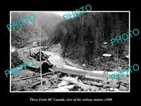 OLD LARGE HISTORIC PHOTO OF THREE FORKS BC CANADA, THE RAILWAY STATION c1900