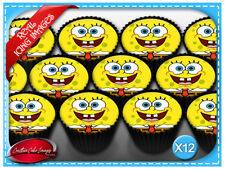 12 Sponge Bob Edible Icing Image Cupcake Topper Birthday Party Decorations