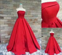 Red Satin Strapless Prom Dresses Ball Gown Formal Evening Gown A Line Custom
