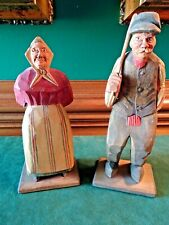 """H. J. FLAT PLANE WOOD CARVINGS MAN AND WOMAN COUPLE FIGURINE, 6.75"""", HANDCRAFTED"""