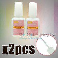 2X10g Nail Art Glue With Brush Adhesive Acrylic False Tips Rhinestones Glitters