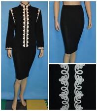 St..John Collection Knits Black Jacket Skirt L 10 12 2pc Suit Cream Floral Trims