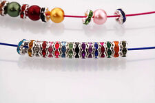 New Silver Plated Czech Crystal Spacer Rondelle Beads Charm Jewelry Findings 8mm